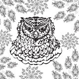 Gorgeous owl coloring page in modern style. Print Royalty Free Stock Photography
