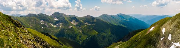 Gorgeous panorama of Fararas mountains. Lovely place in Romania, popular destination for hiking and other outdoor activities Royalty Free Stock Photos