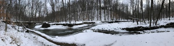 A GORGEOUS PANORAMA OVER A HALF-FROZEN RIVER IN THE MIDDLE OF THE WOODS. The Cleveland Metroparks has a fine set of paths and parks. Cleveland Metroparks is an Royalty Free Stock Image