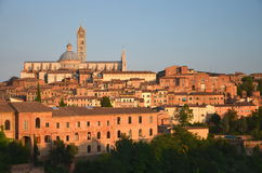 Gorgeous panorama of Siena at sunset, Tuscany, Italy Stock Photos