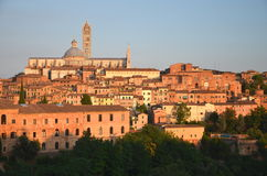 Gorgeous panorama of Siena at sunset, Tuscany, Italy Stock Images