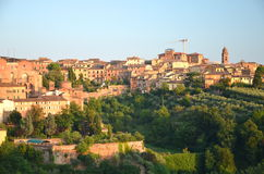 Gorgeous panorama of Siena at sunset, Tuscany, Italy Royalty Free Stock Image