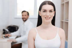 Gorgeous patient waiting for cosmetic procedure Royalty Free Stock Photography