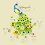 Gorgeous peacock infographic elements Stock Image