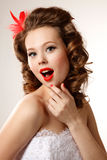 Gorgeous pin-up bride Stock Photography