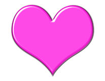 Gorgeous Pink Heart. Pink beveled heart on white background royalty free illustration