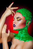Gorgeous portrait of woman with creative makeup Stock Photos