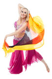 Gorgeous pretty sexy belly dancer. Professional artist dancing in shining costume Stock Images