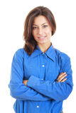 Gorgeous professional business woman in shirt looking at camera Royalty Free Stock Images
