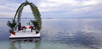 Gorgeous raft on water for different ceremonies. Maldives, Indian Ocean. Beautiful background.  Royalty Free Stock Photo