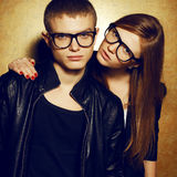 Gorgeous red-haired fashion twins in black eyewear Stock Photo