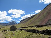 Gorgeous remote valley along the way to Rainbow mountain, high i royalty free stock image