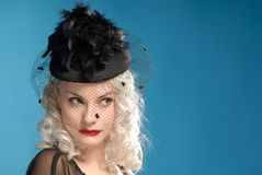 Gorgeous Retro Girl In Forties Hat With Feathers Stock Image
