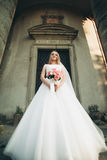 Gorgeous romantic gentle stylish beautiful caucasian bride on the background ancient baroque castle Royalty Free Stock Image