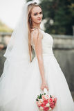 Gorgeous romantic gentle stylish beautiful caucasian bride on the background ancient baroque castle Royalty Free Stock Photo