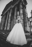 Gorgeous romantic gentle stylish beautiful caucasian bride on the background ancient baroque castle Stock Photo