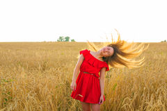 Gorgeous Romantic Girl Outdoors. Beautiful Model in Short Red Dress in Field. Long Hair Blowing in the Wind. Backlit. Warm Color Tones royalty free stock photo