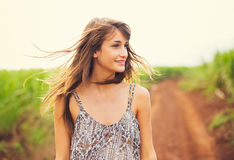 Gorgeous Romantic Girl Outdoors. Summer Lifestyle Stock Photos