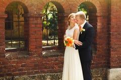 Gorgeous romantic happy bride and groom celebrating marriage on Stock Photos