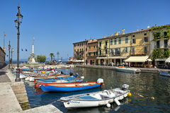 Gorgeous and romantic harbor of Lazise on the eastern shore of Lake Garda Royalty Free Stock Photography