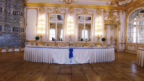 Gorgeous rooms and interiors of the Catherine Palace in St. Petersburg. stock video footage