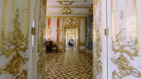 Gorgeous rooms and interiors of the Catherine Palace in St. Petersburg. Pushkin. Tsarskoye Selo stock footage