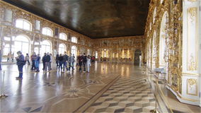 Gorgeous rooms and interiors of the Catherine Palace in St. Petersburg. Pushkin. Tsarskoye Selo stock video footage