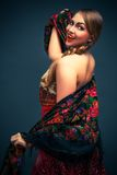 Gorgeous russian woman in shawl Stock Photography