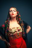 Gorgeous russian woman in shawl Stock Image
