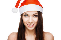 Gorgeous santa girl. Gorgeous cheerful santa girl isolated on white Stock Image