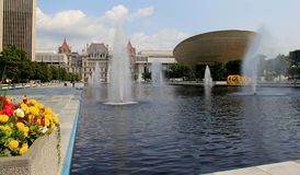 Gorgeous scene of nature and architecture,Empire State Plaza on State Street in Capitol Park,Albany,2015 Stock Image