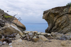 Gorgeous scenery by the sea under a cloudy sky in Sithonia, Chalkidiki, Greece Stock Photography