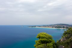 Gorgeous scenery by the sea under a cloudy sky in Sithonia, Chalkidiki, Greece Stock Photos