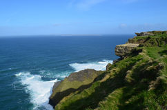 Gorgeous Sea Cliff`s Over Galway Bay in Ireland Royalty Free Stock Photo