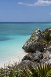 Gorgeous sea shore in Tulum Mexico. The beautiful ocean shore in Tulum, Yucatan Peninsula, Mexico Royalty Free Stock Photo