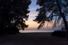 Gorgeous sea and sky colors in the dusk, Sithonia, Chalkidiki, Greece Stock Photo