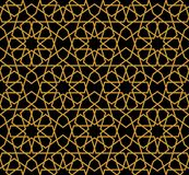 Gorgeous Seamless Arabic Pattern Design. Monochrome Gold Wallpaper or Background Royalty Free Stock Images