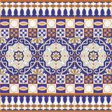 Gorgeous seamless patchwork pattern from colorful Moroccan tiles Stock Photography