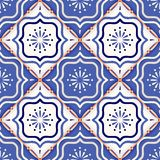 Gorgeous seamless patchwork pattern from colorful Moroccan tiles Stock Photos
