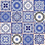 Gorgeous seamless patchwork pattern from colorful Moroccan tiles Royalty Free Stock Image