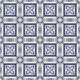Gorgeous seamless patchwork pattern from dark blue and white Moroccan, Portuguese  tiles, Azulejo, ornaments. ace textures. Stock Image