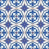 Gorgeous seamless patchwork pattern from dark blue and white Moroccan, Portuguese  tiles, Azulejo, ornaments. Stock Image