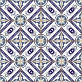 Gorgeous seamless patchwork pattern from dark blue and white Moroccan, Portuguese  tiles, Azulejo, ornaments. Royalty Free Stock Image
