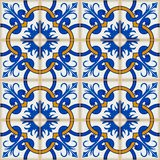 Gorgeous seamless patchwork pattern from dark blue and white Moroccan, Portuguese  tiles, Azulejo, ornaments. Royalty Free Stock Photography