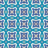 Gorgeous seamless patchwork pattern from dark blue and white Moroccan, Portuguese  tiles, Azulejo, ornaments. Stock Photo