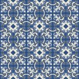 Gorgeous seamless patchwork pattern from dark blue and white Moroccan tiles, ornaments. Can be used for wallpaper, pattern fills, web page background,surface Stock Photography