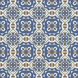 Gorgeous seamless patchwork pattern from dark blue and white Moroccan tiles, ornaments. Stock Photo