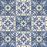 Gorgeous seamless patchwork pattern from dark blue and white Moroccan tiles, ornaments. Stock Photography