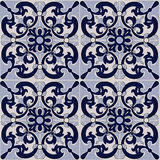 Gorgeous seamless patchwork pattern from dark blue and white tiles, ornaments. Can be used for wallpaper, pattern fills, web page background,surface textures Stock Images