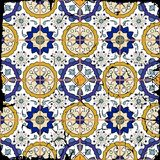 Gorgeous seamless patchwork pattern from grunge Moroccan tiles Royalty Free Stock Photo